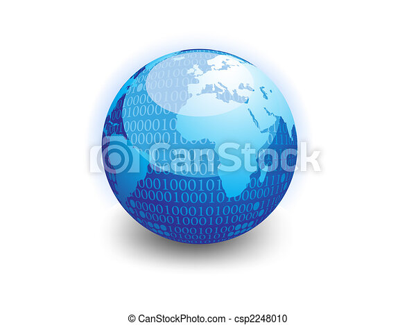 données, globe, binaire - csp2248010