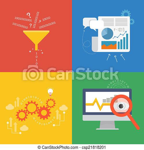 données, icône, conception, plat, concept, élément - csp21818201