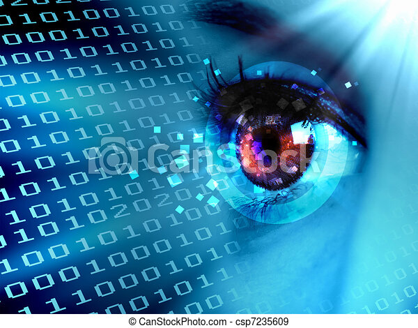 données, oeil, ruisseau, numérique - csp7235609