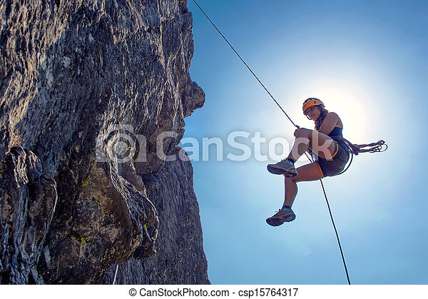 donna, abseiling - csp15764317