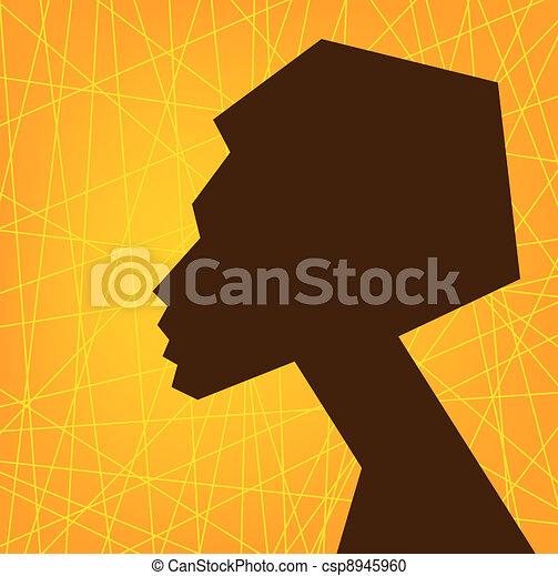 donna, africano, faccia, silhouette - csp8945960