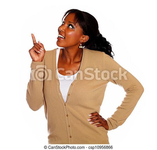 donna aguzzando, giovane, su, dall'aspetto, bello - csp10956866