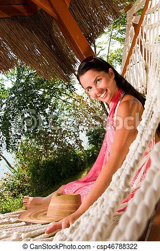 donna, amaca, giovane - csp46788322