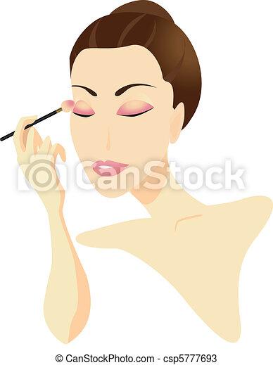 donna, applicando trucco - csp5777693