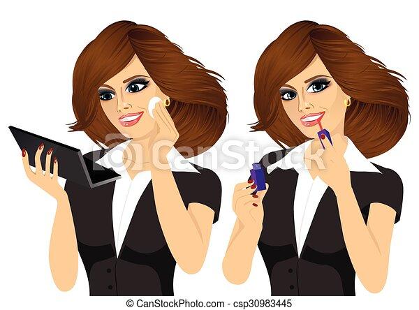 donna, applicare, giovane, trucco - csp30983445