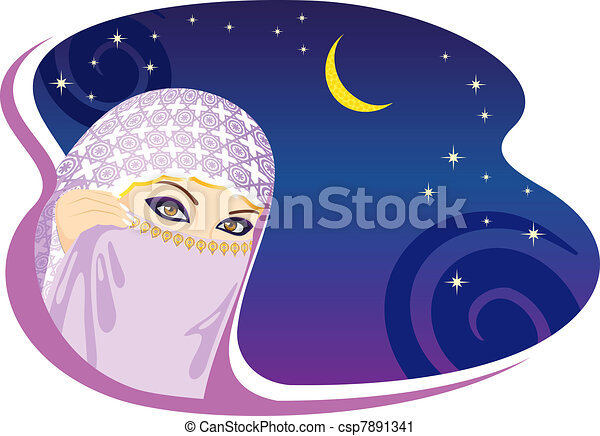 donna, arabo, night., musulmano - csp7891341