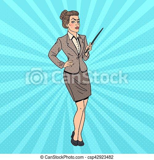 donna, arte, affari, pop, vettore, illustrazione, stick., puntatore - csp42923482