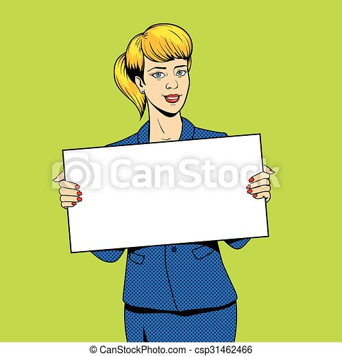 donna, arte, giovane, pop, segno, vettore, presa a terra - csp31462466