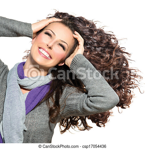 donna, bellezza, riccio, sano, capelli lunghi, soffiando, hair. - csp17054436