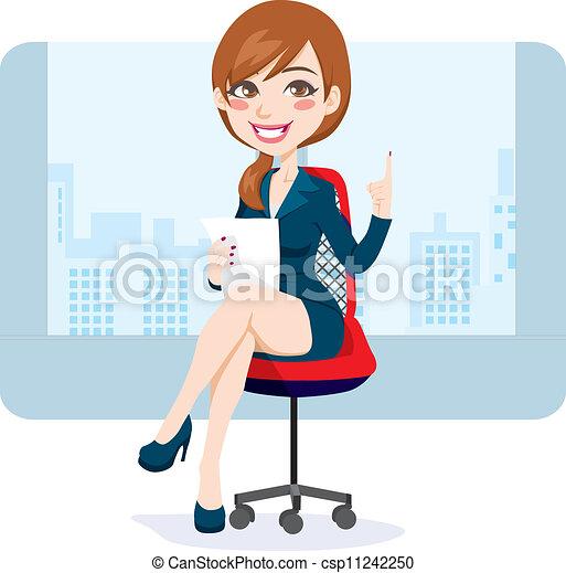 donna, brunetta, ufficio - csp11242250
