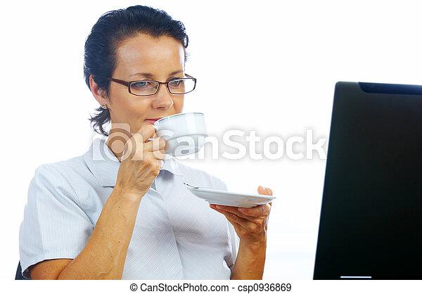 donna, caffè - csp0936869