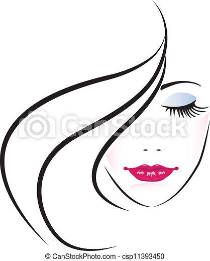donna, carino, faccia, silhouette - csp11393450
