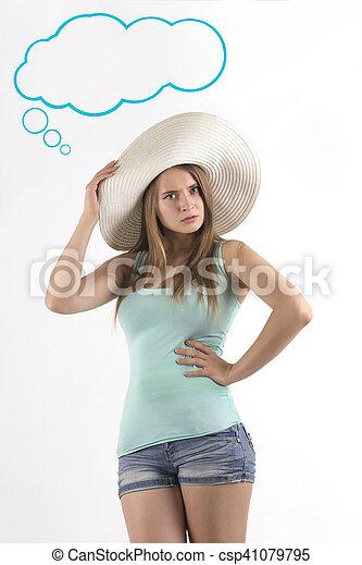 donna, carino, sopra, proposta, fondo, bianco - csp41079795