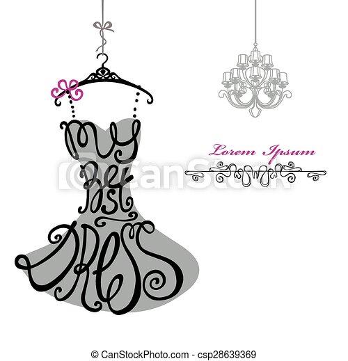 donna, chandelier., sagoma, dress., meglio, silhouette., parole, vestire - csp28639369