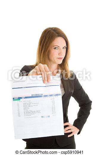 donna, conto, disapprovazione, dovuto, isolato, passato, bianco - csp5910941