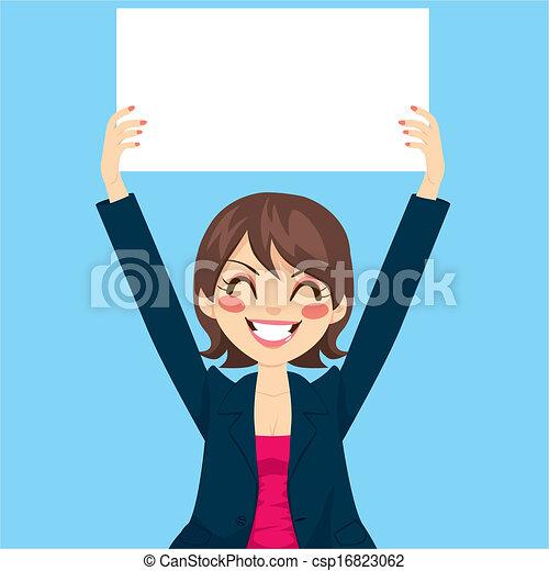 donna d'affari, cartoncino bianco, presa a terra - csp16823062