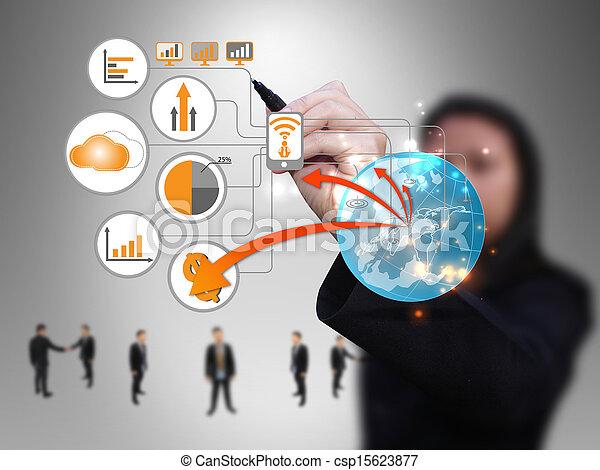 donna d'affari, disegno, tecnologia, rete - csp15623877