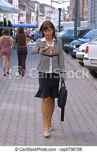 donna d'affari, fretta - csp0796706