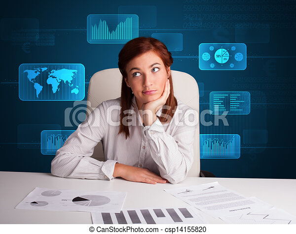 Lavoro Ufficio Clipart : Donna d affari lavoro ufficio fondo digitale donna clip art