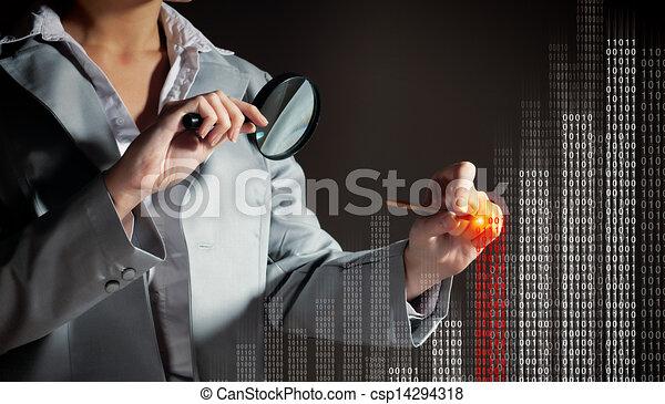 donna d'affari, magnificatore, vetro - csp14294318