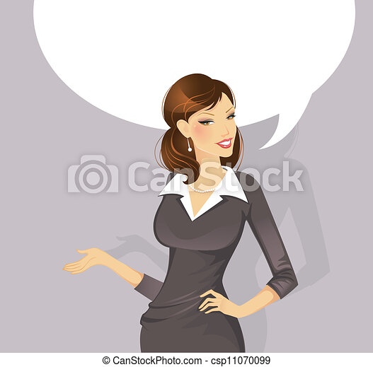 donna d'affari, parlante - csp11070099