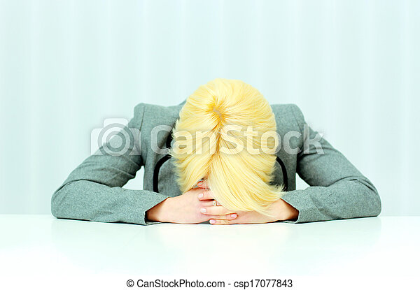 donna d'affari, posto lavoro, lei, ufficio, in pausa - csp17077843