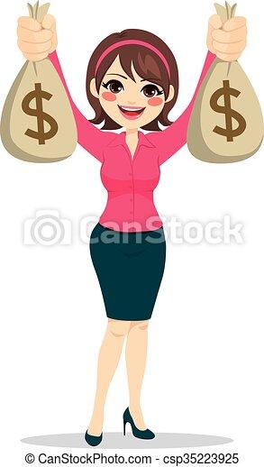donna d'affari, soldi, presa a terra, borse - csp35223925