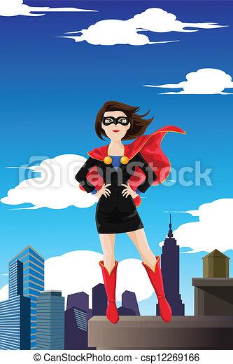 donna d'affari, superhero - csp12269166