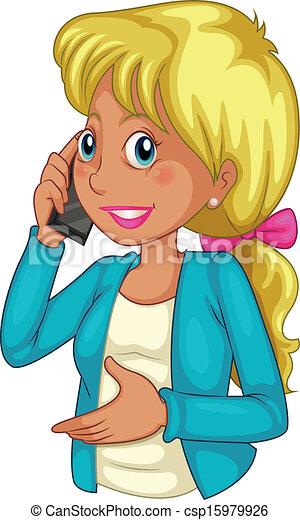 donna d'affari, usando, cellphone - csp15979926