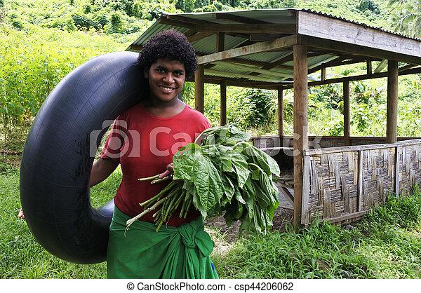 donna, figi, fijian, indigeno - csp44206062
