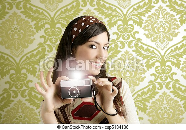 donna, foto, carta da parati, anni sessanta, macchina fotografica, verde, retro - csp5134136