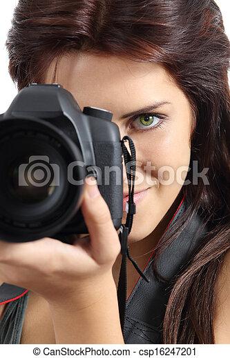donna, fotografo, su, macchina fotografica slr, presa a terra, digitale, chiudere - csp16247201
