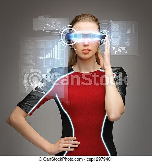 donna, futuristico, occhiali - csp12979401
