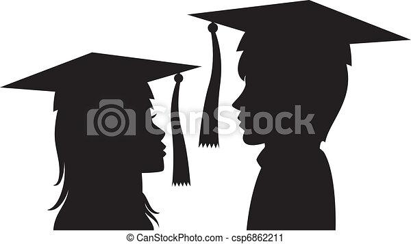 donna, giovane, laureati, uomo - csp6862211