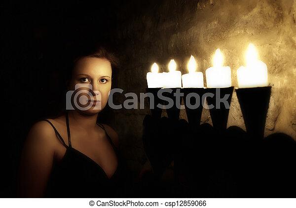 donna, giovane, scuro, misterioso, ritratto, castello - csp12859066