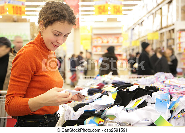 donna, giovane, supermercato - csp2591591