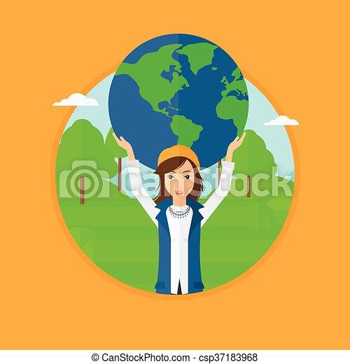 donna, globe., presa a terra - csp37183968