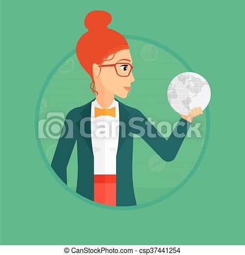 donna, globe., presa a terra - csp37441254