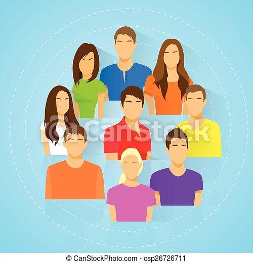 donna, gruppo, persone, diverso, avatar, icona, uomo - csp26726711