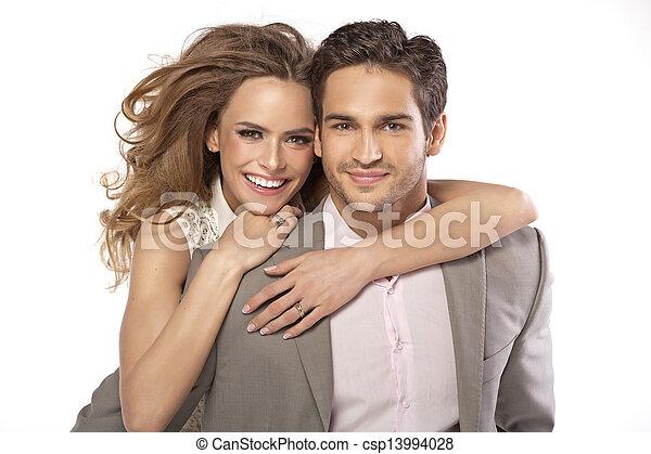 donna, huging, delicato, lei, marito - csp13994028