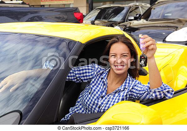 donna, lei, chiavi, automobile, esposizione, sport, nuovo - csp3721166