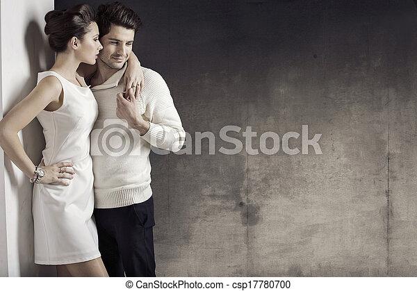 donna, magro, muscolare, lei, marito - csp17780700