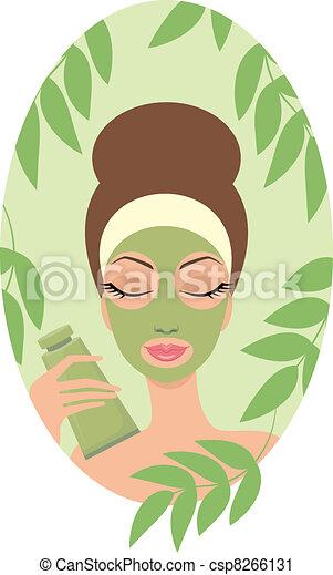 donna, maschera, facciale - csp8266131