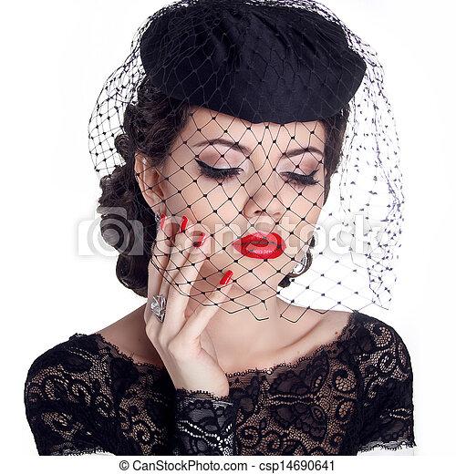 donna, nails., isolato, makeup., fondo., labbra, retro, ritratto, polacco, cappello bianco, rosso - csp14690641