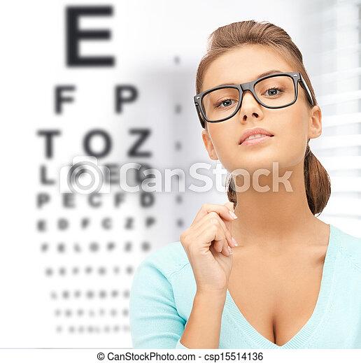 donna, occhiali, occhio - csp15514136