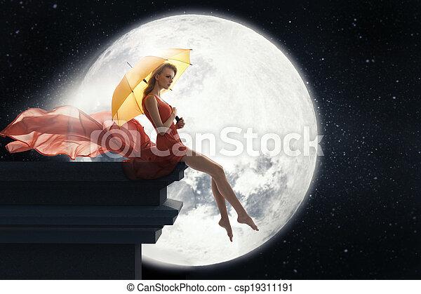 donna, ombrello, sopra, luna, pieno, fondo - csp19311191
