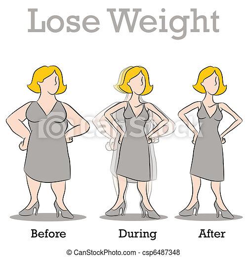 donna, peso, perdere - csp6487348