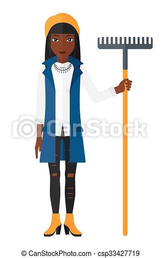 donna, rake., standing - csp33427719