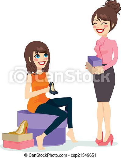 donna, scarpe, scegliere - csp21549651