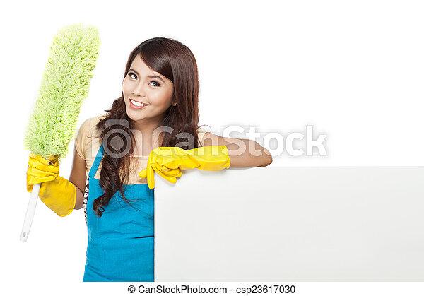 donna, servizio, asse, pulizia, vuoto, presentare - csp23617030